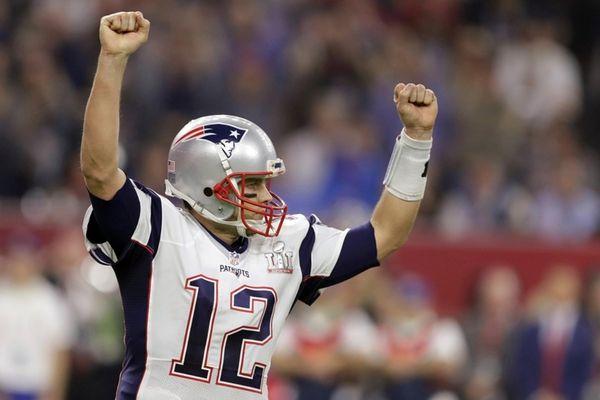 New England Patriots QB Tom Brady celebrates a