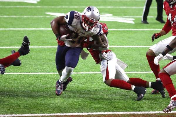 James White of the New England Patriots scores