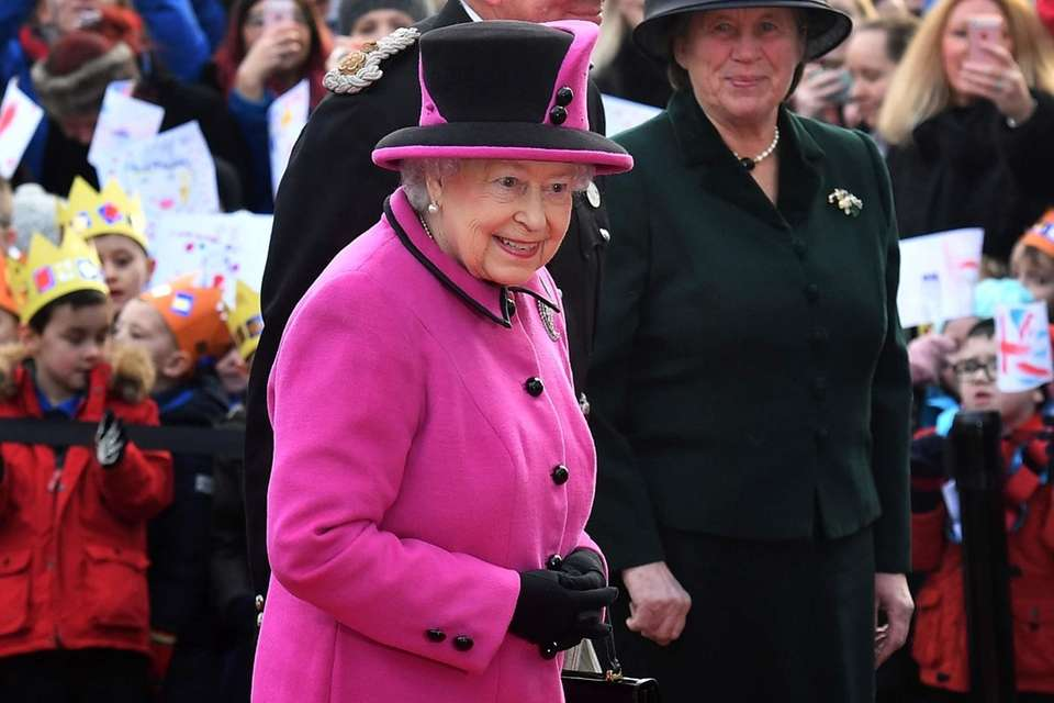 Britain's Queen Elizabeth II arrives for a visit