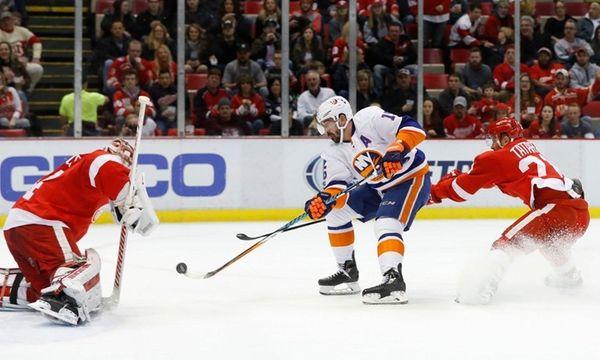 Detroit Red Wings goalie Petr Mrazek, 34,blocks a