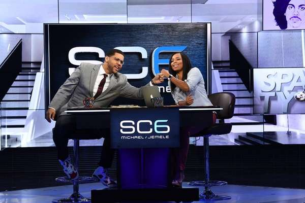 Michael Smith and Jemele Hill on the set