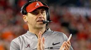 Offensive coordinator Steve Sarkisian of the Alabama Crimson