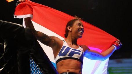 Germaine de Randamie of the Netherlands celebrates victory