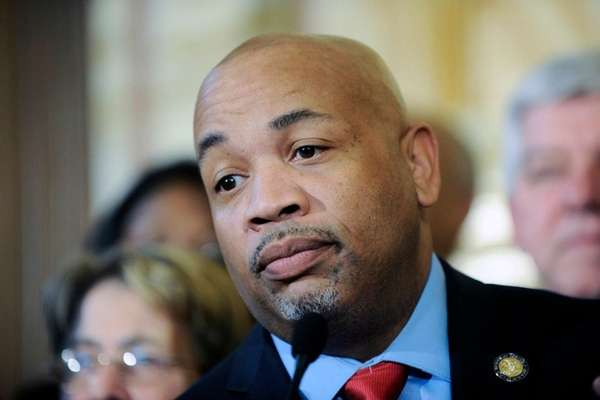 Assembly Speaker Carl Heastie (D-Bronx) answers questions during