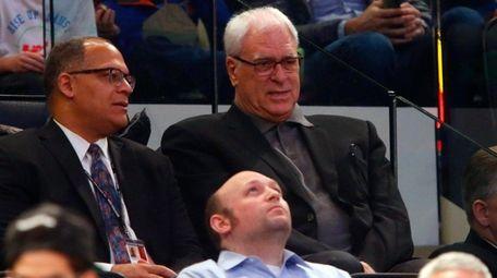 New York Knicks president Phil Jackson watches his