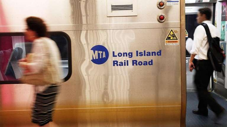 LIRR commuters exiting a train.