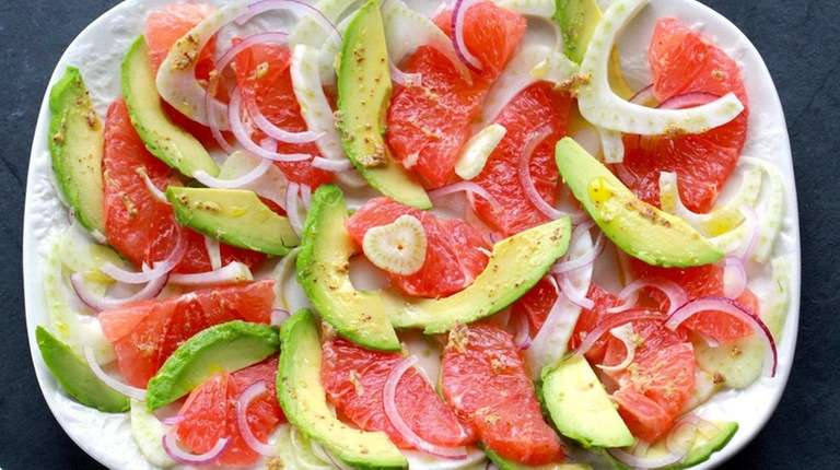 Ruby grapefruit, avocado, fennel and red onion are