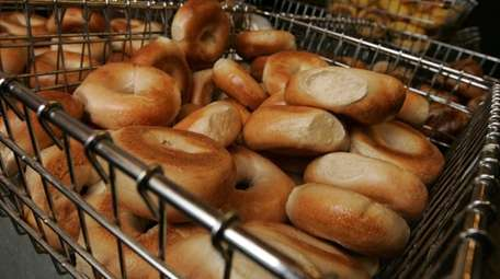 Bagels on display at the Bagel Boss store