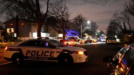 Suffolk County police respond to a report of