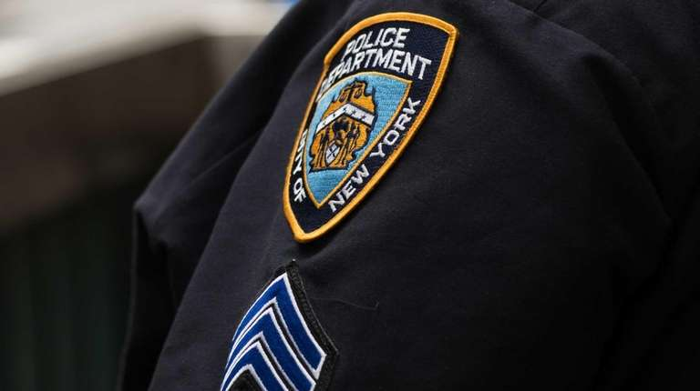 A New York Police Department officer is seen