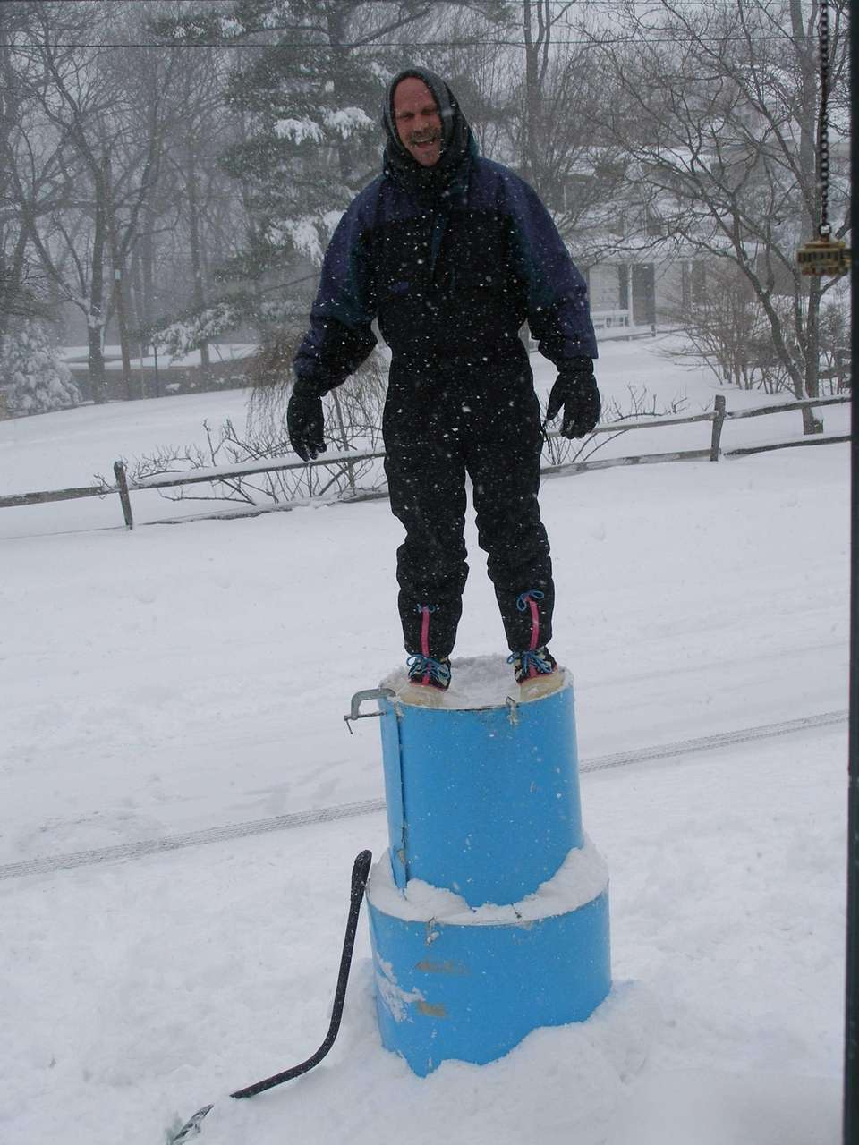 Plastic bins are great for packing snow in