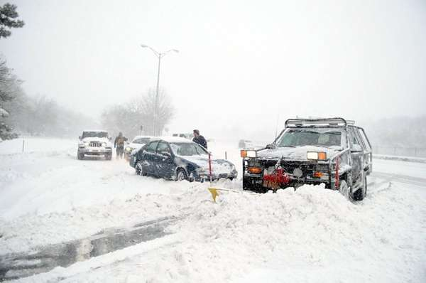 A plow helps push snow out of the