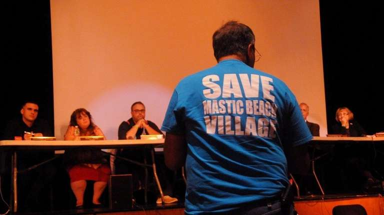 Resident of Mastic Beach address Village trustees during