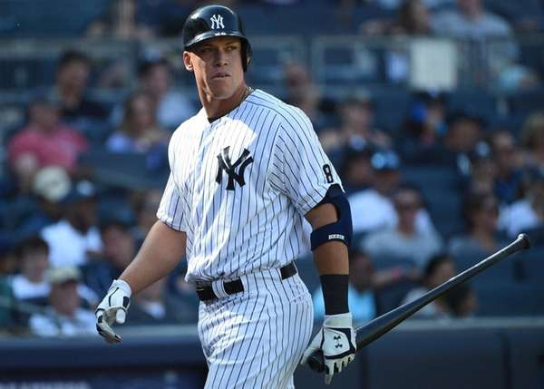 The New York Yankees' Aaron Judge looks on against