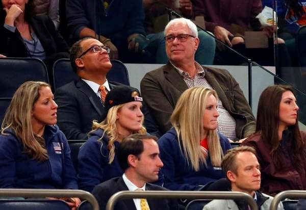 Phil Jackson watches the Knicks play against the