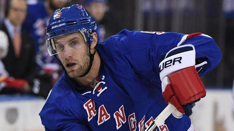 New York Rangers defenseman Dan Girardi skates against