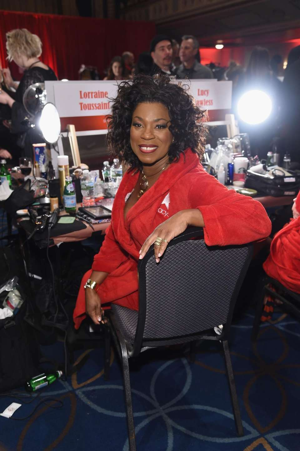 Lorraine Toussaint prepares backstage at the American Heart
