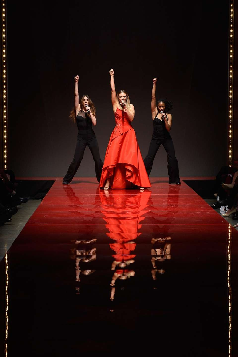 Rachel Platten performs on the runway during the