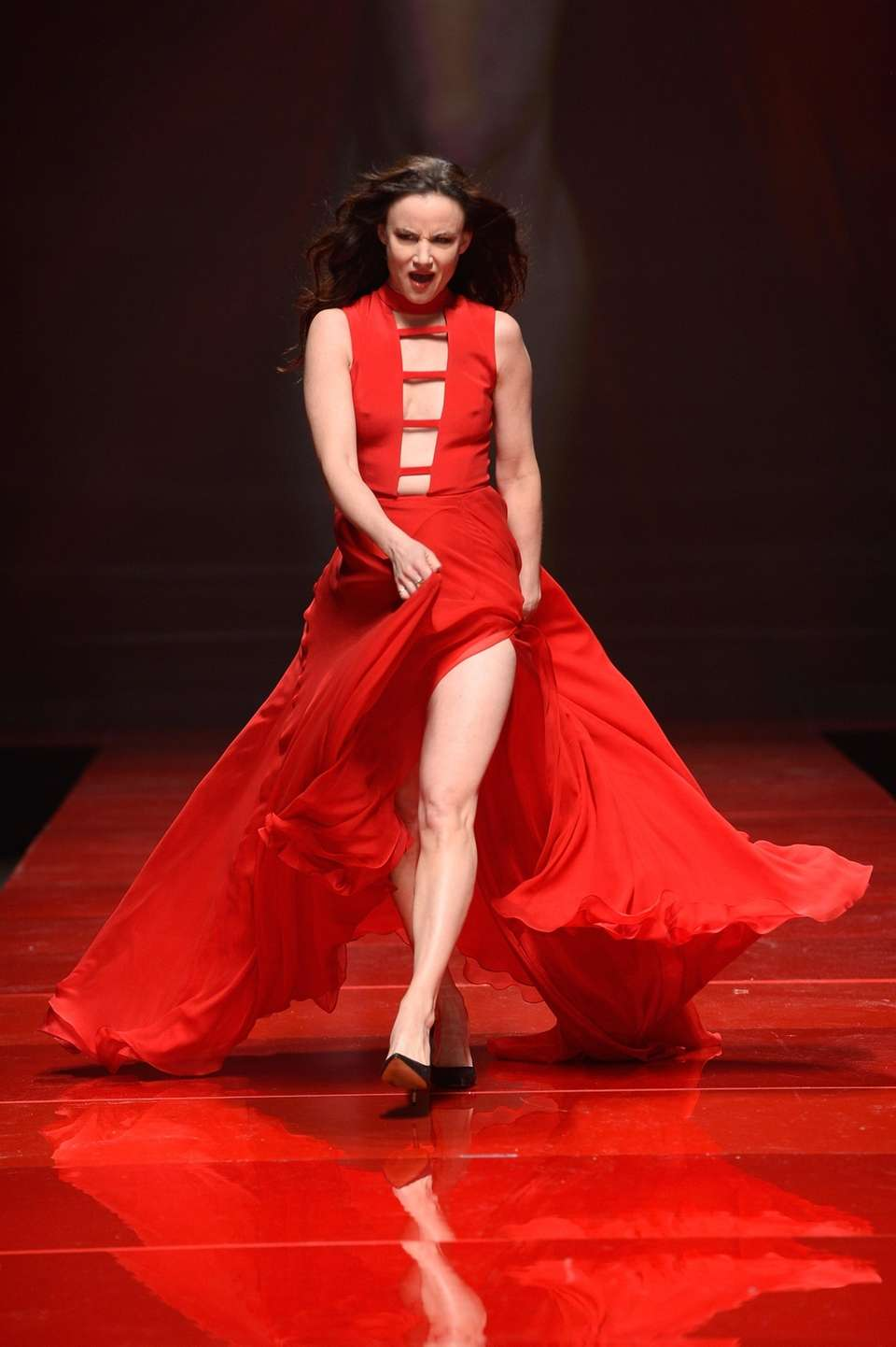 Actress Juliette Lewis struts down the runway wearing