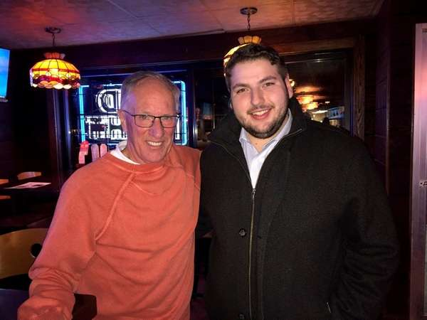 NBC hockey announcer Doc Emrick, left, with Bowling