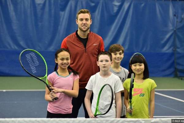 Tennis star Jack Sock with Kidsday reporters, from