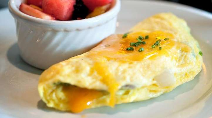 Omelet and fruit.