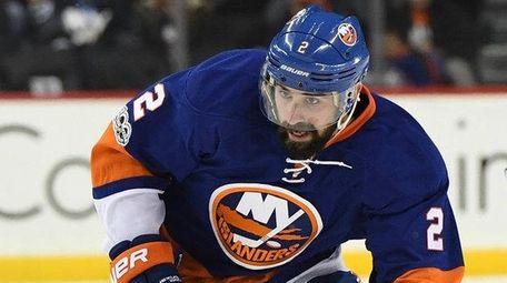 New York Islanders defenseman Nick Leddy skates with
