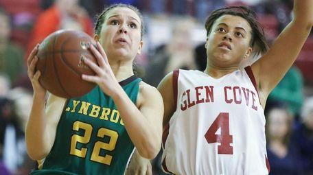 Lynbrook's Sophia LoCicero, left, drives past Glen Cove's