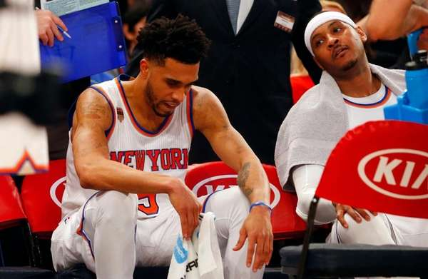 Courtney Lee and Carmelo Anthony of the New