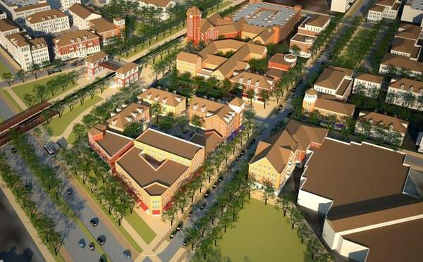 Rendering shows a new neighborhood of mixed-use housing