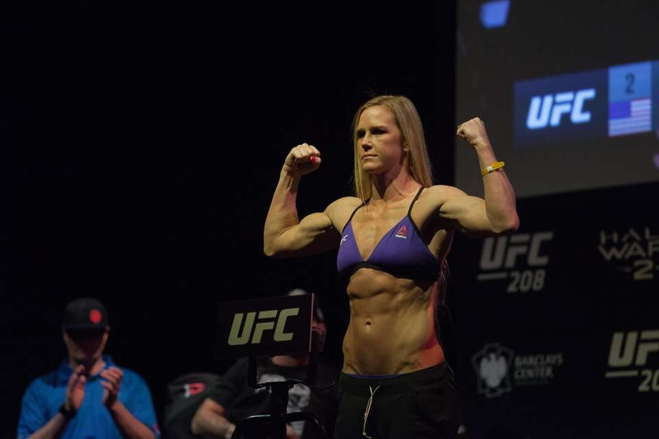 Holly Holm at the UFC 208 ceremonial weigh-ins