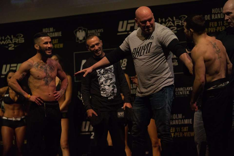 Ian McCall, left, and Jarred Brooks face off