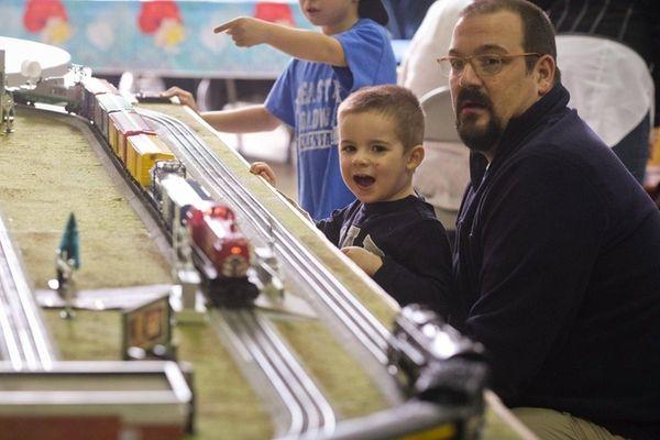 Jack Tymecki, 3, of Levittown, watches trains run
