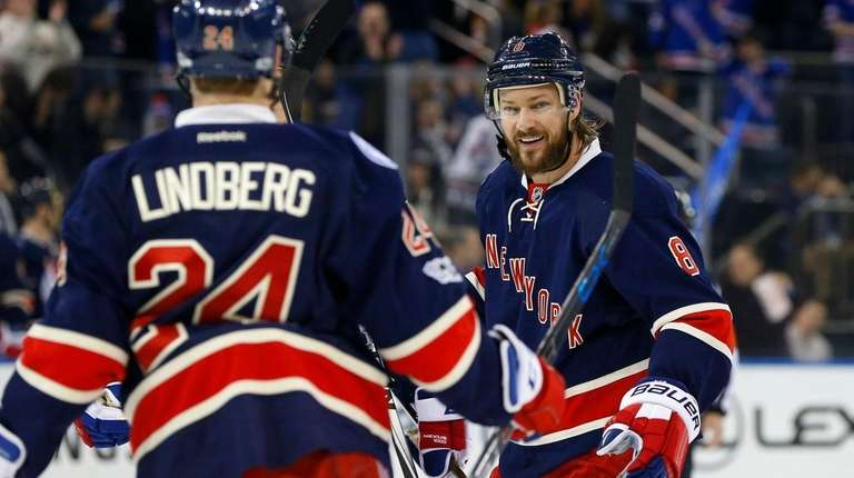 Kevin Klein, #8, of the New York Rangers