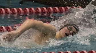 Chaminade High School swimmer Christian Sztoleman competes in
