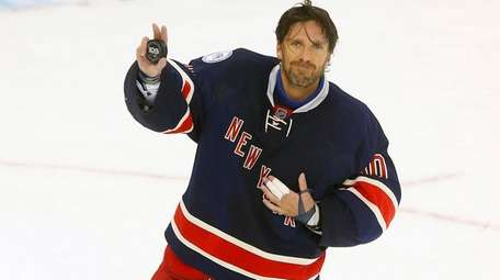 Henrik Lundqvist of the New York Rangers is named