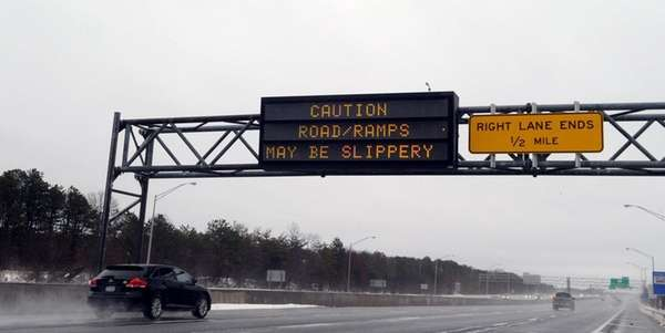 A sign on the eastbound Long Island Expressway