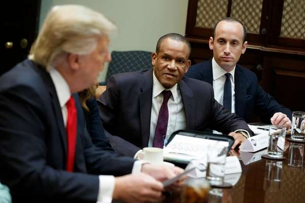 Stephen Miller, right, senior adviser to President Donald