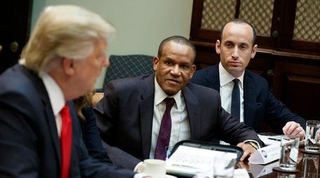 Stephen Miller, right, senior adviser to President Donald