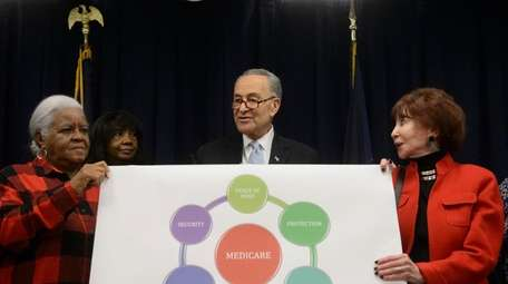 Sen. Charles E. Schumer is joined by local