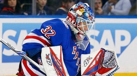 Antti Raanta of the New York Rangers makes