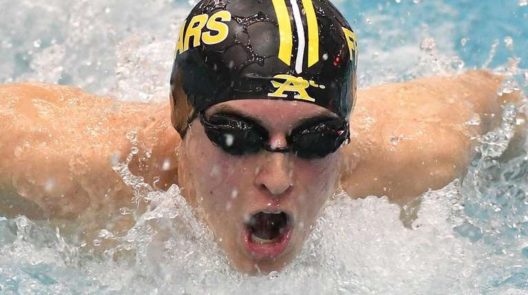 Andrew Stange of St. Anthony's swims the butterfly