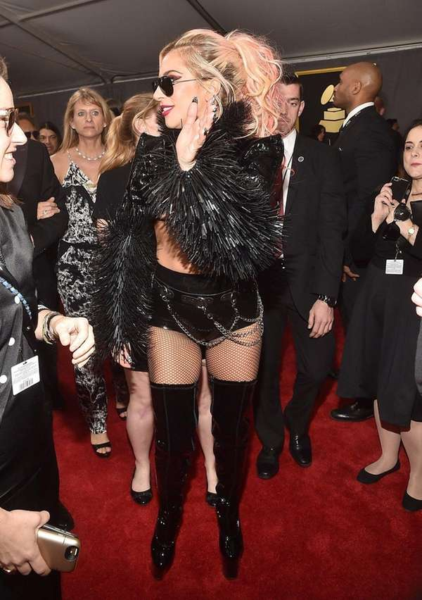 Lady Gaga attends the 59th annual Grammy Awards