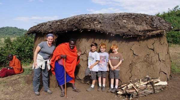 Kidsday reporter Maceo Blumberg, middle, in Tanzania with