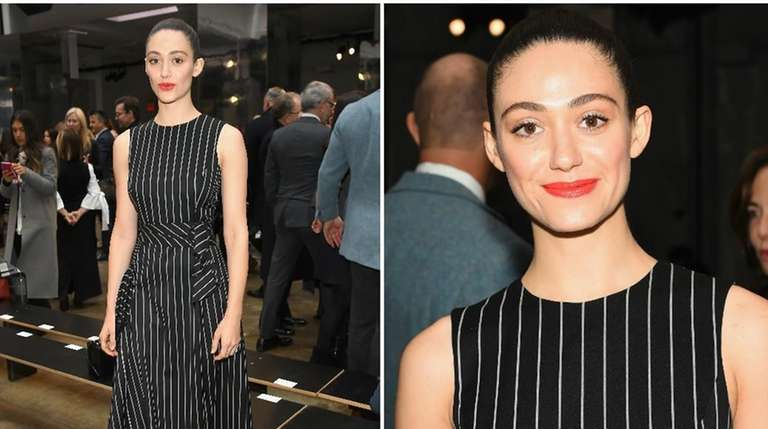 Emmy Rossum attends the Carolina Herrera collection show