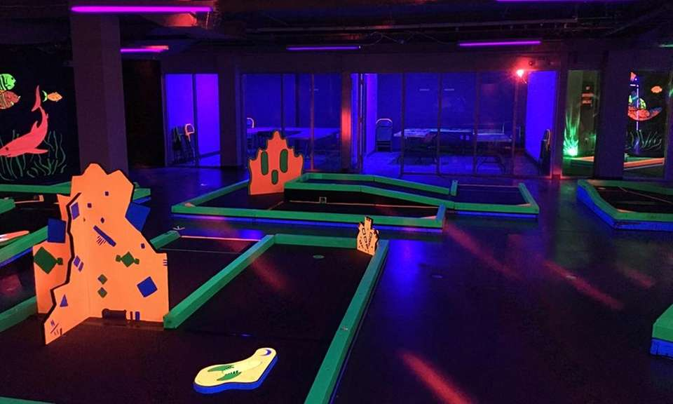 Glowgolf is a glow-in-the-dark mini-golf course under the