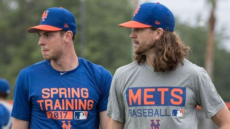 Mets pitchers Steven Matz (left) and Jacob deGrom