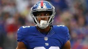 Victor Cruz of the New York Giants reacts