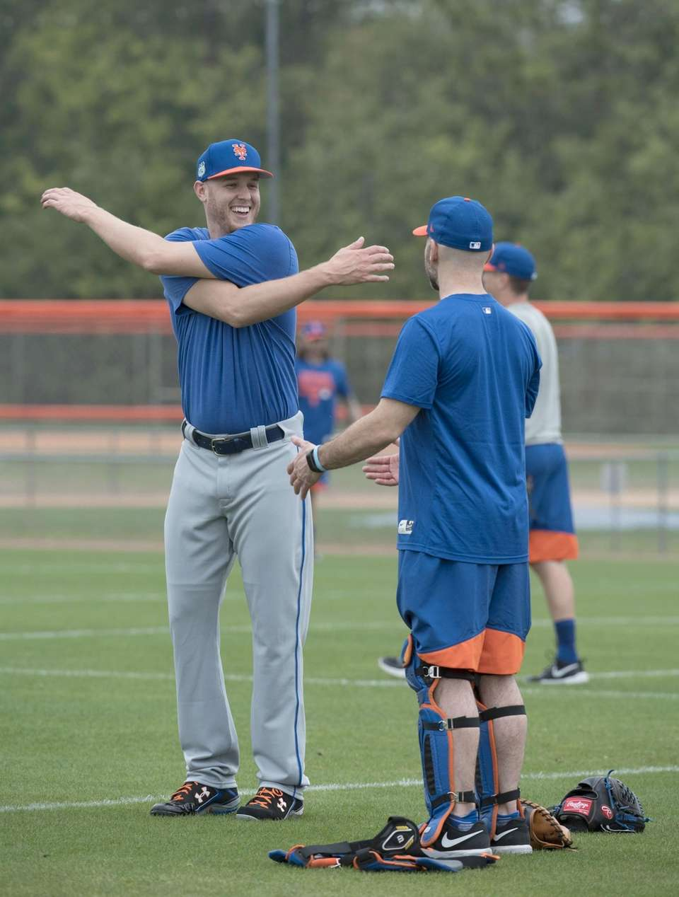 Mets pitcher Zach Wheeler stretches during a spring