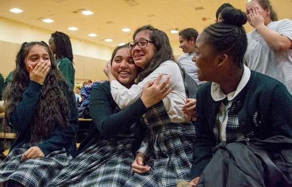 From left, Evergreen Charter School students Jeymily Cajimila,